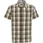 Weird Fish Fjord Short Sleeve Oxford Check Shirt Army Green Size XL