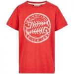 Weird Fish Heritage Surf Graphic Print T-Shirt Dark Red Marl Size 5-6