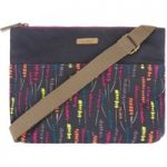 Weird Fish Elmi Printed Waxed Cross Body Bag Navy Size ONE
