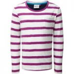Weird Fish Evie Striped Jersey T-Shirt Sloeberry Size 9-10