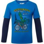 Weird Fish Squid Long Sleeve Graphic Print T-Shirt Skydiver Blue Size 32