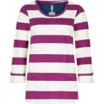 Weird Fish Ajay Cotton Slub Stripe Long Sleeve T-Shirt Boysenberry Size 8