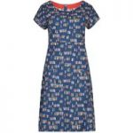 Weird Fish Tallahassee Printed Cotton Jersey Dress Navy Size 12