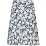 Weird Fish Malmo Printed Jersey Skirt Dark Denim Size 14