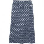 Weird Fish Malmo Printed Jersey Skirt Ink Size 14