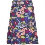 Weird Fish Malmo Printed Jersey Skirt Dusty Teal Size 18