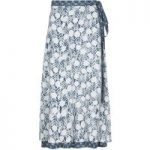 Weird Fish Shana Reversible Printed Midi Wrap Skirt Dark Denim Size 12