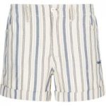 Weird Fish Yasmin Stripe Short Light Cream Size 14