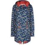 Weird Fish Babylon Showerproof Printed Ripstop Parka Jacket Navy Size 14