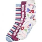 Weird Fish Parade Patterned Sock 3 Pack Light Cream Size 4-7