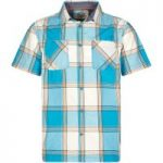 Weird Fish Trevelyan Micro Sanded Short Sleeve Check Shirt Bright Blue Size S