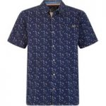 Weird Fish Wade Micro Print Herringbone Short Sleeve Shirt Maritime Blue Size XL