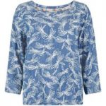 Weird Fish Ranbir Printed Tencel ® Top Light Denim Size 8