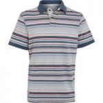 Weird Fish Calama Striped Polo Shirt Blue Mirage Size L