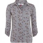 Weird Fish Agua Bird Print Jersey Shirt Ash Grey Size 12