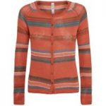 Weird Fish Tepic Fine Knit Striped Cardigan Burnt Orange Size 8