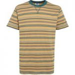 Weird Fish Aire Jacquard Striped T-Shirt Deep Amber Size 2XL
