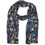 Weird Fish Alverton All Over Print Soft Handle Scarf Dark Navy Size ONE