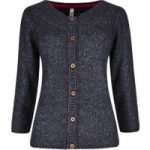 Weird Fish Woodlawn Plain Flecked Cardigan Dark Navy Size 8