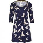 Weird Fish Ella 3/4 Sleeve Printed Slub Tunic Navy Size 18